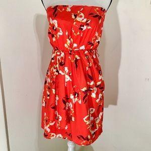 6 Express strapless tropical Hawaiian dress